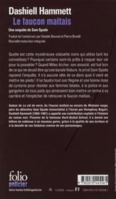 Le faucon maltais - 4ème de couverture - Format classique