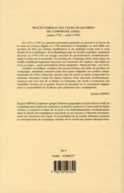 Proces Verbaux Des Clubs De Jacobins De Compiegne - 4ème de couverture - Format classique