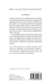 Austerlitz - 4ème de couverture - Format classique