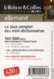 Robert & Collins ; mini dictionnaire allemand ; français/allemand ; allemand/français - 4ème de couverture - Format classique
