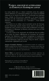Nation, identité et littérature en Europe et Amérique latine (XIXe-XXe siècles) - Couverture - Format classique