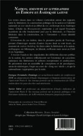 Nation, identité et littérature en Europe et Amérique latine (XIXe-XXe siècles) - 4ème de couverture - Format classique