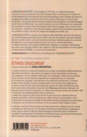 Ethos Discursif - 4ème de couverture - Format classique