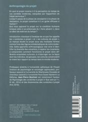 Anthropologie du projet (3e édition) - 4ème de couverture - Format classique