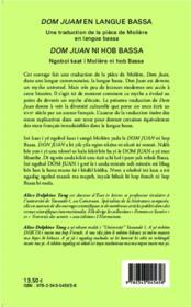 Dom Juan en langue Bassa ; une traduction de la pièce de Molière - 4ème de couverture - Format classique