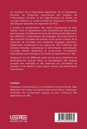 La formalisation des langues ; l'approche de NooJ - 4ème de couverture - Format classique
