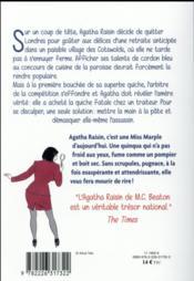 Agatha Raisin enquête T.1 ; la quiche fatale - 4ème de couverture - Format classique