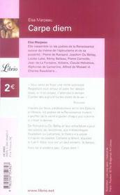 Carpe diem - 4ème de couverture - Format classique