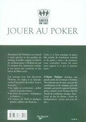 Jouer au poker - 4ème de couverture - Format classique
