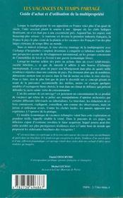 Les Vacances En Temps Partage ; Guide De L'Achat Et D'Utilisation De La Multipropriete - 4ème de couverture - Format classique