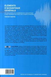 Éléments d'acoustique générale ; de quelques lieux communs.de l'acoustique à une première maitrise des champs sonores - 4ème de couverture - Format classique