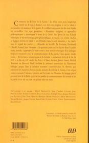 La Genese Dans La Litterature. Exegeses Et Reecritures - 4ème de couverture - Format classique
