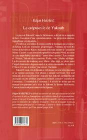 Le crépuscule de Yakoub - 4ème de couverture - Format classique
