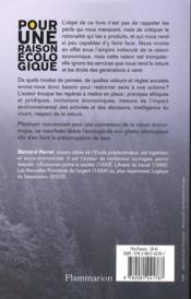 Pour une raison écologique - 4ème de couverture - Format classique