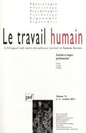 Revue Le Travail Humain N.74/4 (édition 2011) - Couverture - Format classique