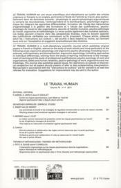 Revue Le Travail Humain N.74/4 (édition 2011) - 4ème de couverture - Format classique