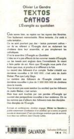 Texto catho ; l'évangile au quotidien - 4ème de couverture - Format classique