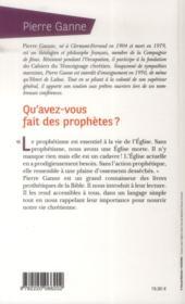 Qu'avez-vous fait des prophètes ? - 4ème de couverture - Format classique