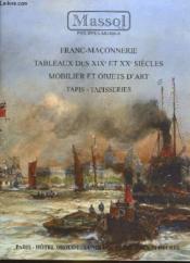 1 Catalogue De Vente Aux Encheres - Franc6maconnerie - Tableaux Des 19° Et 20° Siecles - Couverture - Format classique
