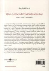 Jesus : lecture de l'evangile selon luc, volume 1 - jusqu'a jerusalem - 4ème de couverture - Format classique