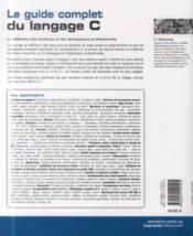 Le guide complet du langage C - 4ème de couverture - Format classique