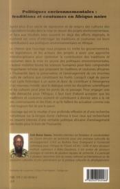 Politiques environnementales : traditions et coutumes en Afrique noire - 4ème de couverture - Format classique