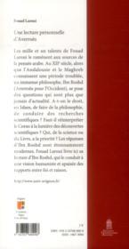 Une lecture personnelle d'Averroès - 4ème de couverture - Format classique