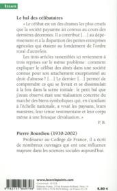 Le bal des célibataires ; crise de la société paysanne en Béarn - 4ème de couverture - Format classique