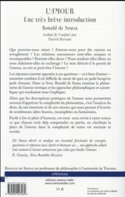 L'amour - une tres breve introduction - 4ème de couverture - Format classique