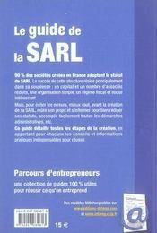 Le Guide De La Sarl - 4ème de couverture - Format classique