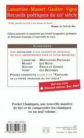 Recueils Poetiques Du Xixe Siecle - 4ème de couverture - Format classique