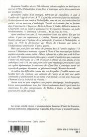 Benjamin Franklin ; A La Recherche D'Un Monde Meilleur - 4ème de couverture - Format classique