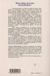 Henry James Ou Le Sens Des Profondeurs - 4ème de couverture - Format classique