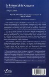 Le référentiel de naissance ; langage, symbolique, dynamique du tarot (6e édition) - 4ème de couverture - Format classique
