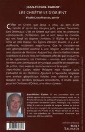 Les chrétiens d'Orient, vitalité, soufrances, avenir - 4ème de couverture - Format classique