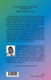 Grammaire anglaise pour DAEU - 4ème de couverture - Format classique