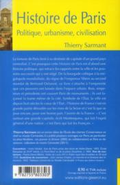 Histoire de paris - politique, urbanisme, civilisation - 4ème de couverture - Format classique