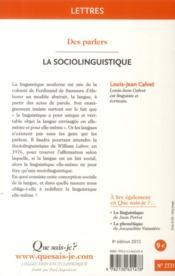 La sociolinguistique (8e édition) - 4ème de couverture - Format classique