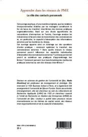 Apprendre dans les reseaux de PME ; le rôle des contacts personnels - 4ème de couverture - Format classique