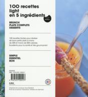 100 recettes light en 5 ingrédients - 4ème de couverture - Format classique