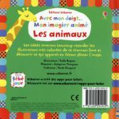 Avec mon doigt... ; mon imagier animé ; les animaux - 4ème de couverture - Format classique