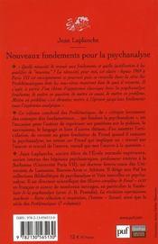 Nouveaux fondements pour la psychanalyse (2e édition) - 4ème de couverture - Format classique