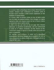 Histoire D'Un Etat Disparu La Republique Democratique Allemande De 1945 A Nos Jours - 4ème de couverture - Format classique
