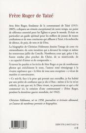 Frère Roger de Taizé - 4ème de couverture - Format classique