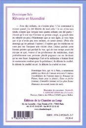Rêverie et fécondité - 4ème de couverture - Format classique