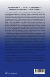Dictionnaire de la justice internationale, de la paix et du développement durable ; principaux termes et expressions (52e édition) - 4ème de couverture - Format classique
