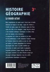 Histoire géographie ; 3e ; le monde actuel - 4ème de couverture - Format classique