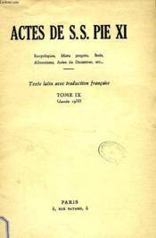 Actes De S. S. Pie Xi, Tome Ix (1933) - Couverture - Format classique