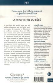 La psychiatrie du bébé (2e. édition) - 4ème de couverture - Format classique