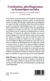 Créolisation, plurilinguismes et dynamiques sociales ; conduire des recherches en contexte plurilingue : le cas de Maurice - Couverture - Format classique